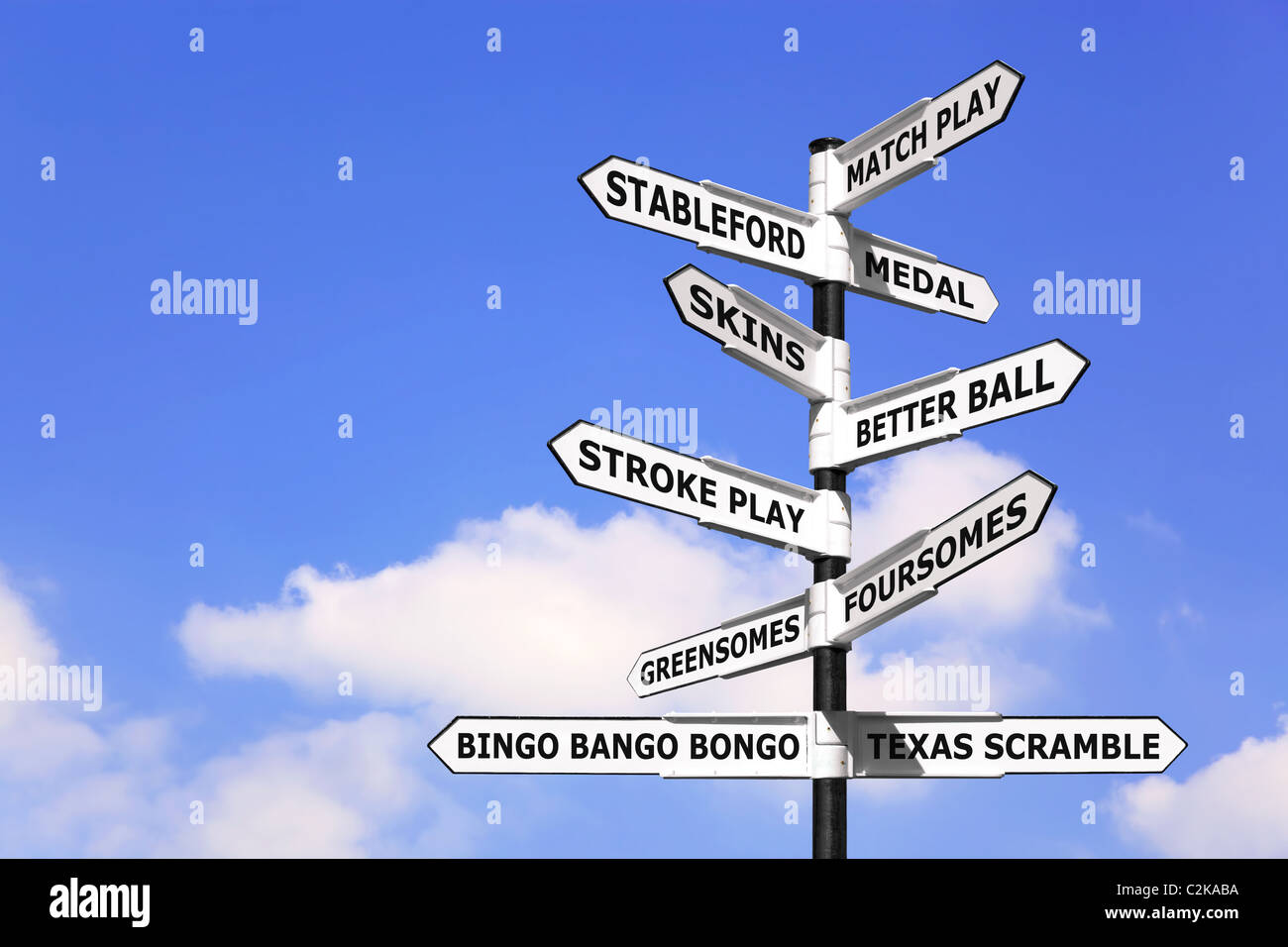 Concept image of a signpost with types of golf competition on the arrows. - Stock Image