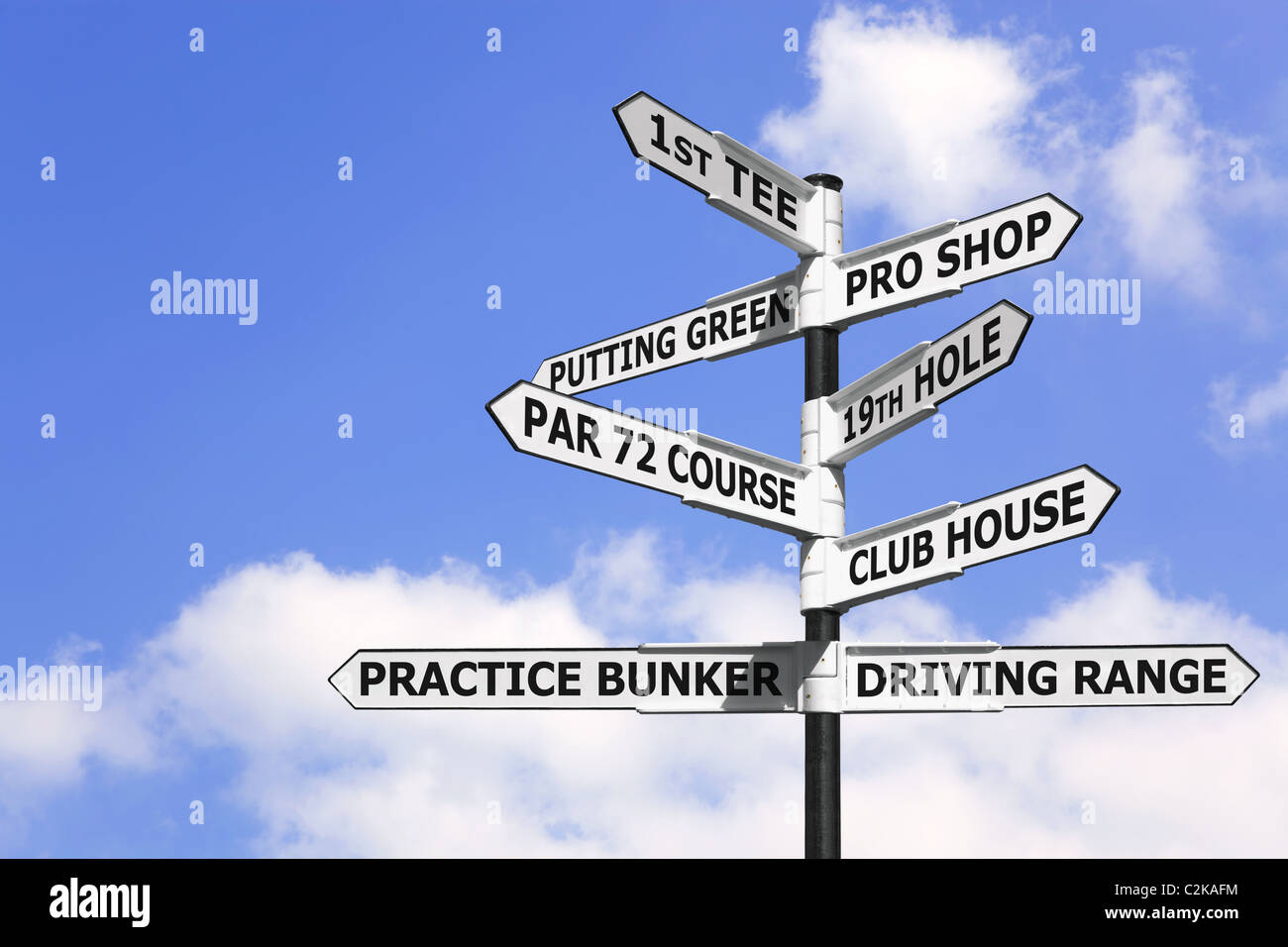 Concept image of a signpost with golf course information on the arrows. - Stock Image