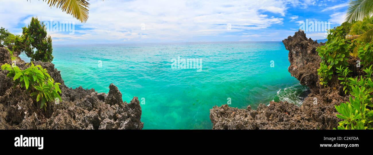 Panorama of tropical lagoon. Bohol. Philippines - Stock Image