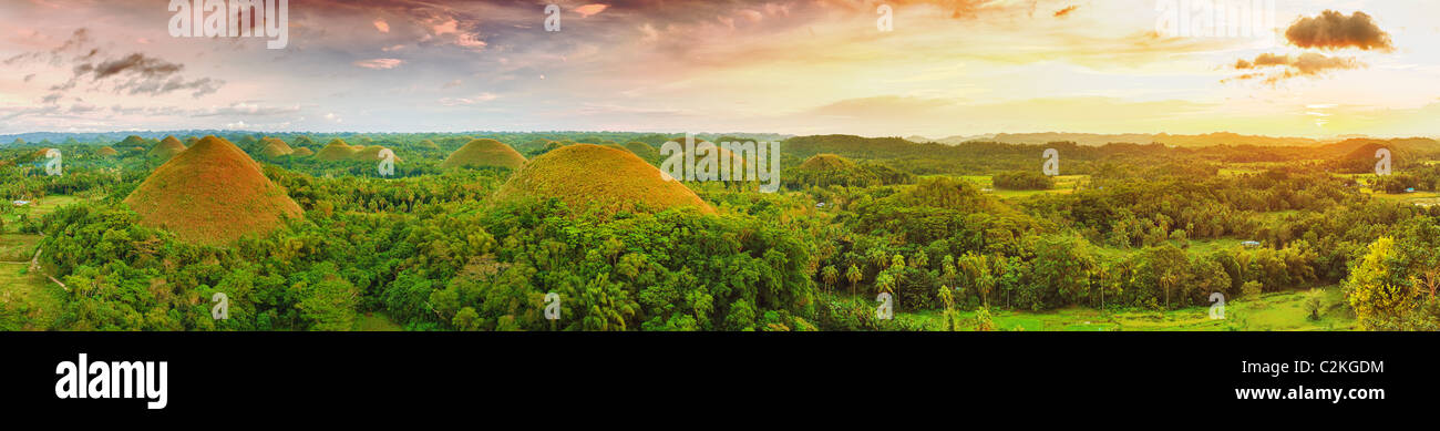 Panorama of The Chocolate Hills. Bohol, Philippines - Stock Image