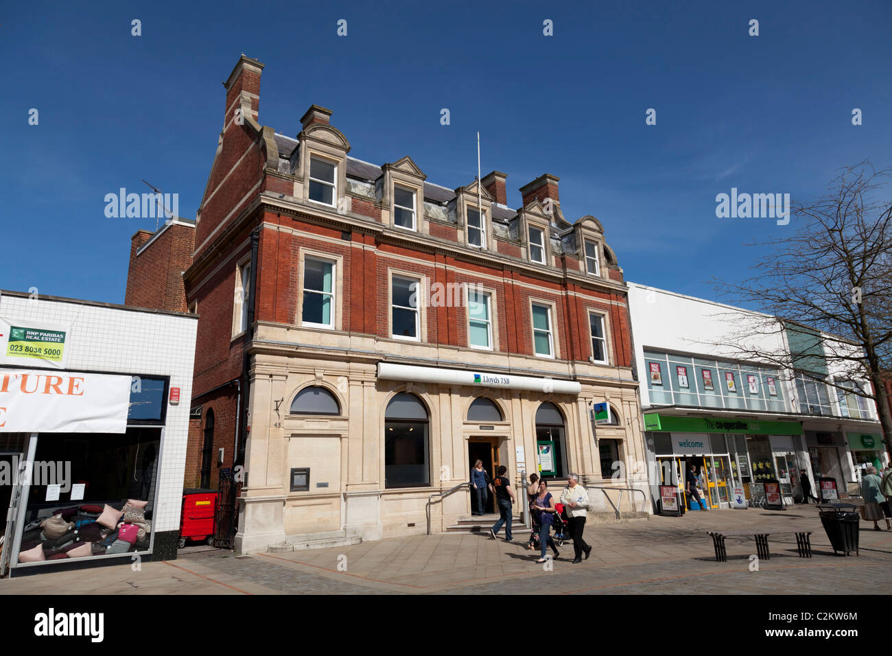 exterior of Lloyds bank in town high street - Stock Image