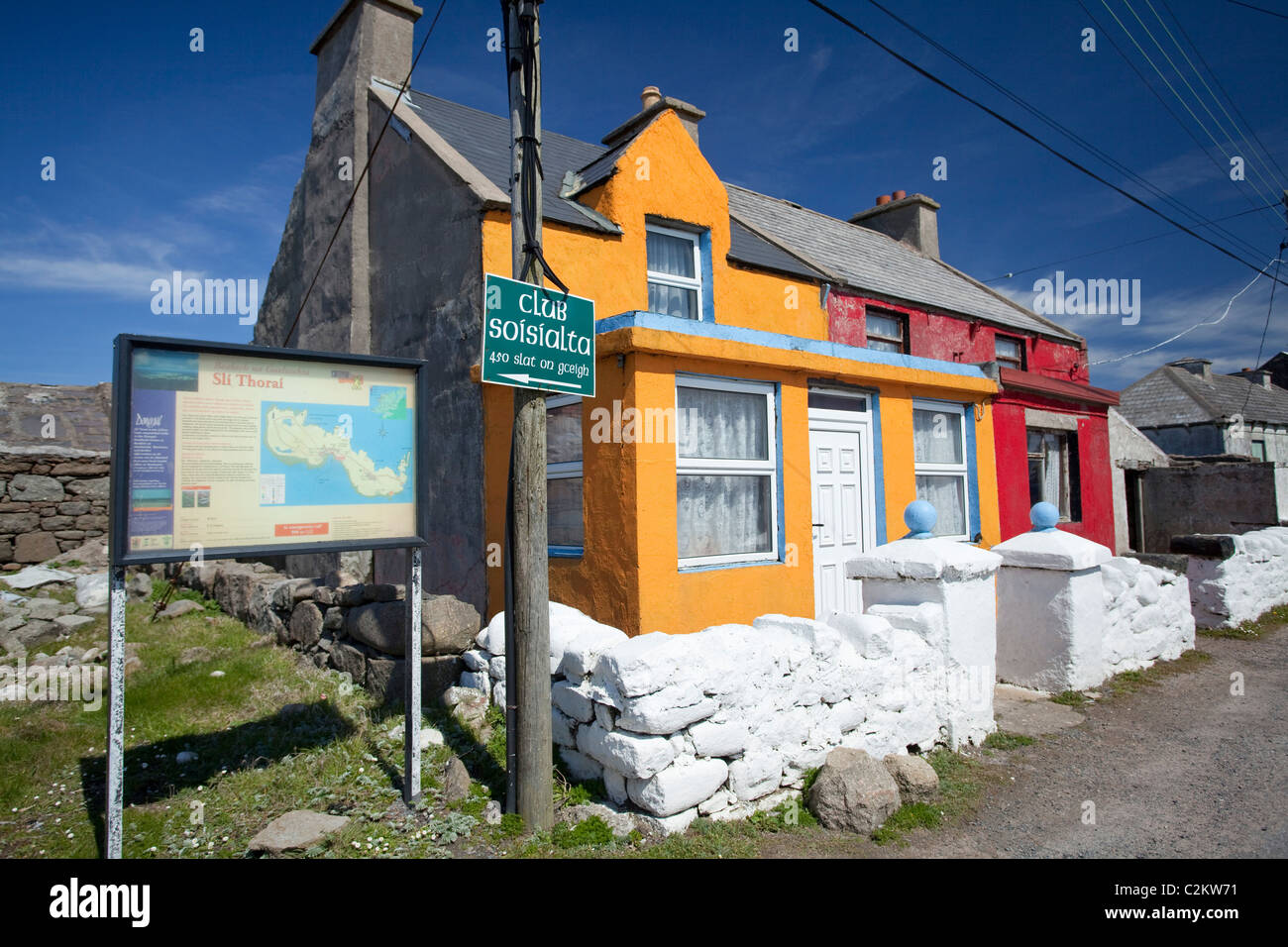 Colourful cottages in West Town, Tory Island, County Donegal, Ireland. - Stock Image