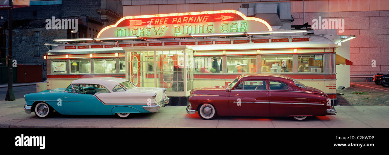 Diner with two classic cars in St. Paul Minneapolis USA Stock Photo ...