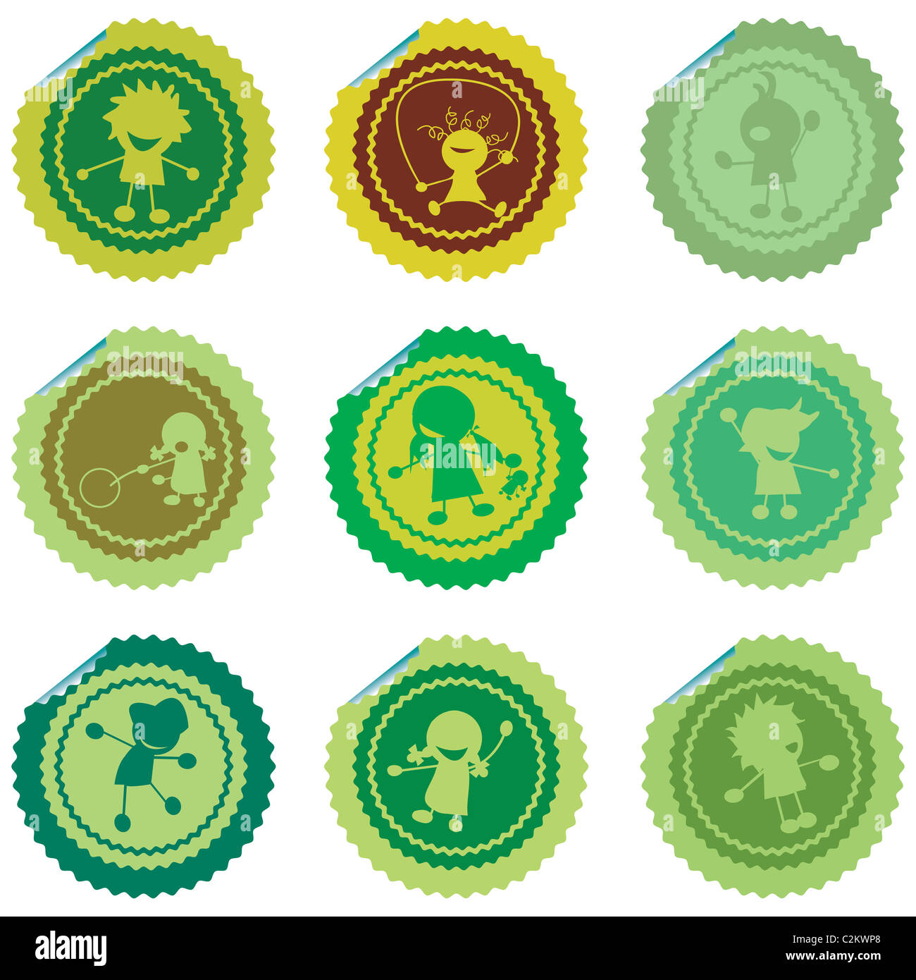 stylized children stickers - Stock Image
