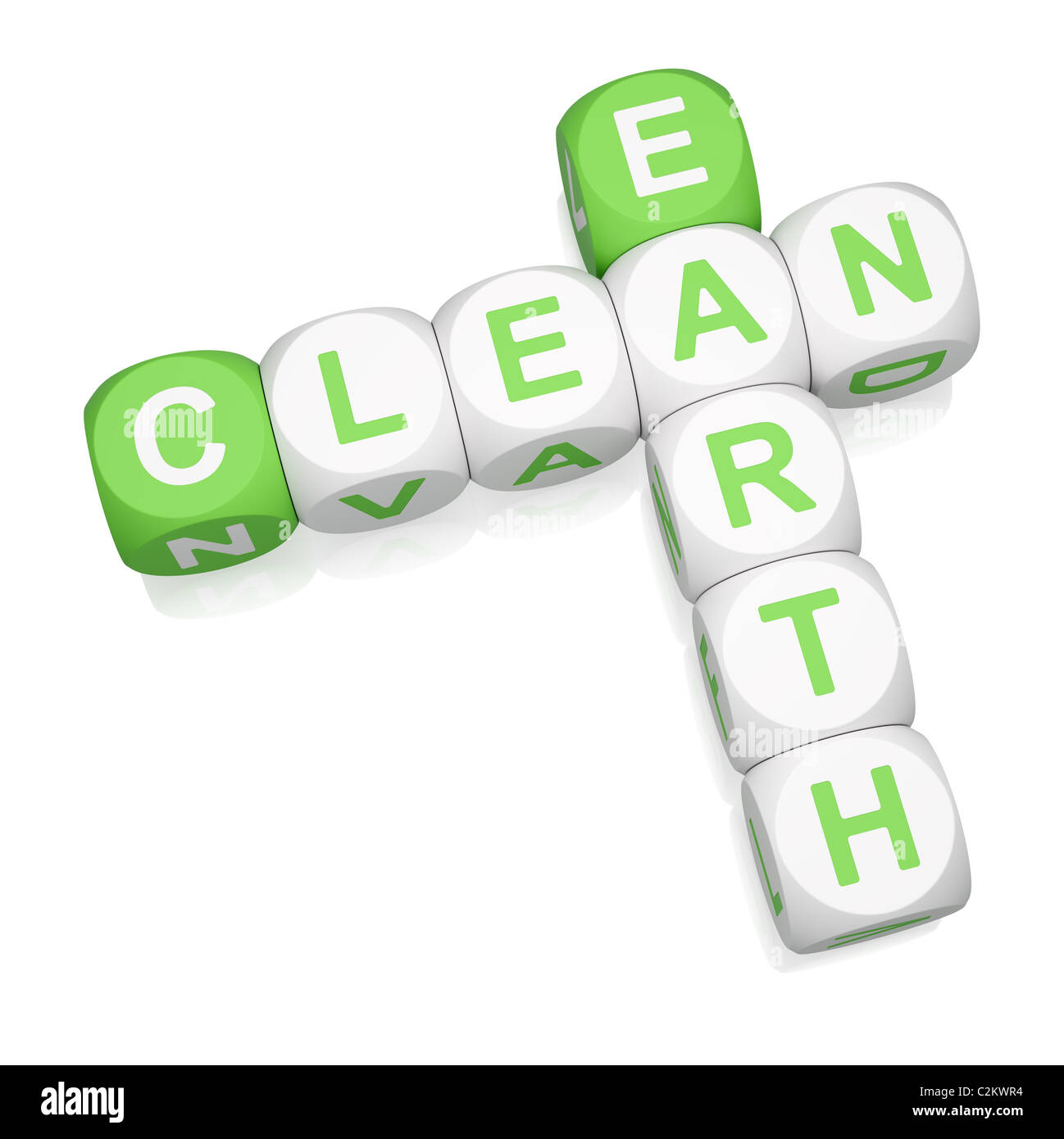 Clean Earth crossword on white background - Stock Image