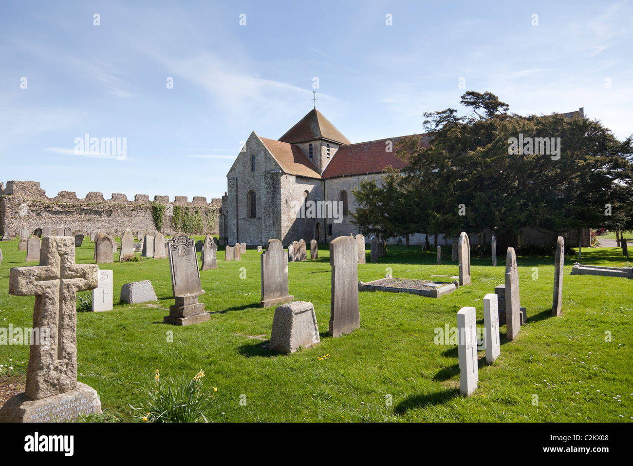 graveyard and 12C Priory at Portchester Castle Stock Photo