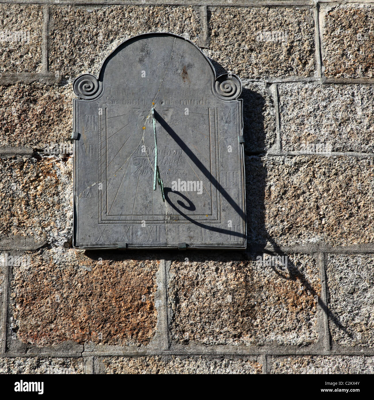 Sundial on wall of church in St Ives Cornwall England UK - Stock Image