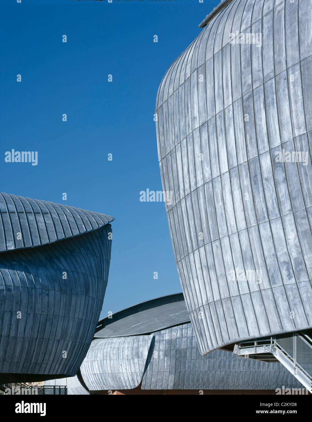 Auditorium, Parco della Musica, Rome, 1997-2002. Roofs of concert halls from the park. Stock Photo