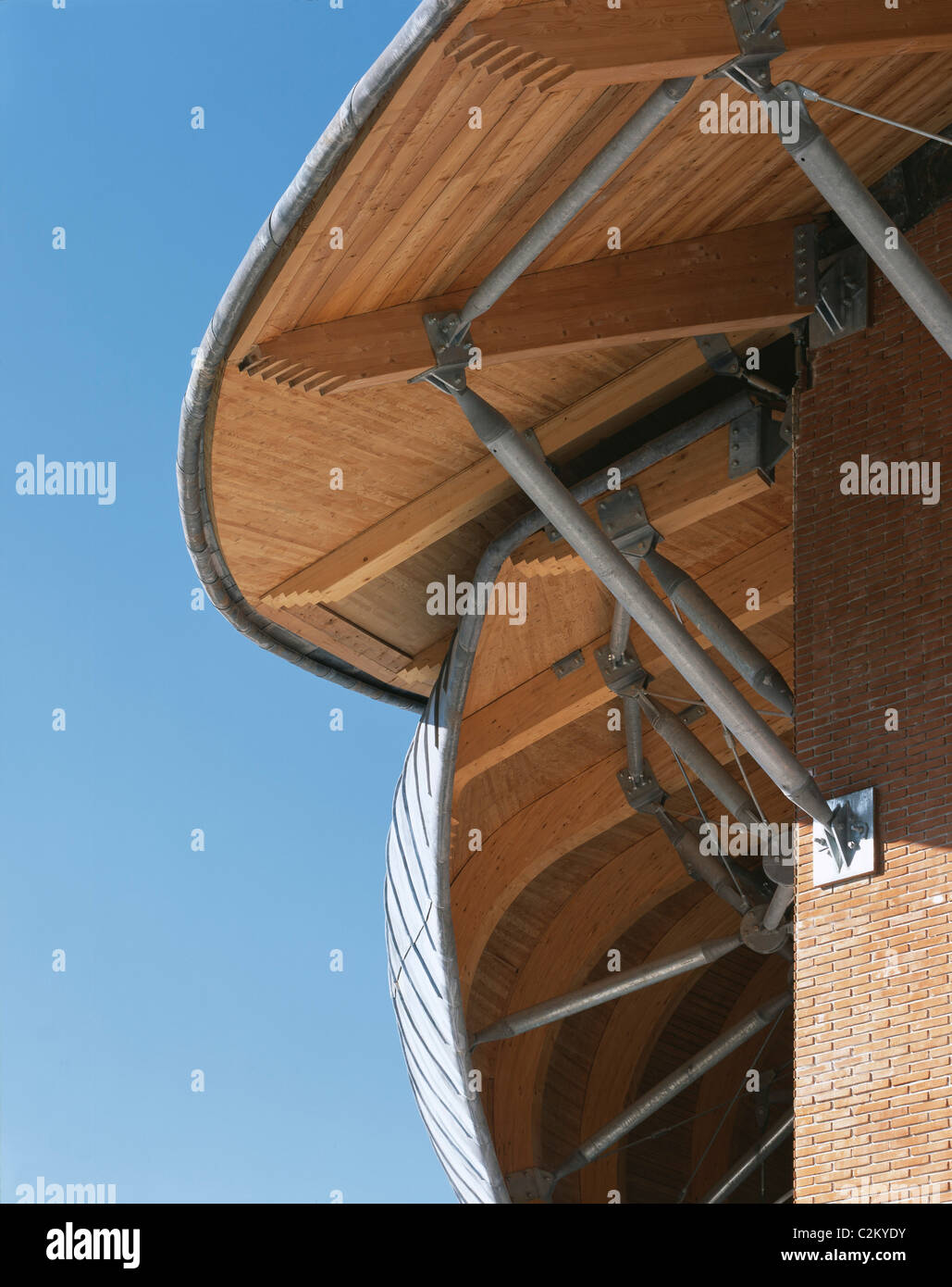 Auditorium, Parco della Musica, Rome, 1997-2002. Detail of roof showing structure in wood and galvanized steel beams. - Stock Image