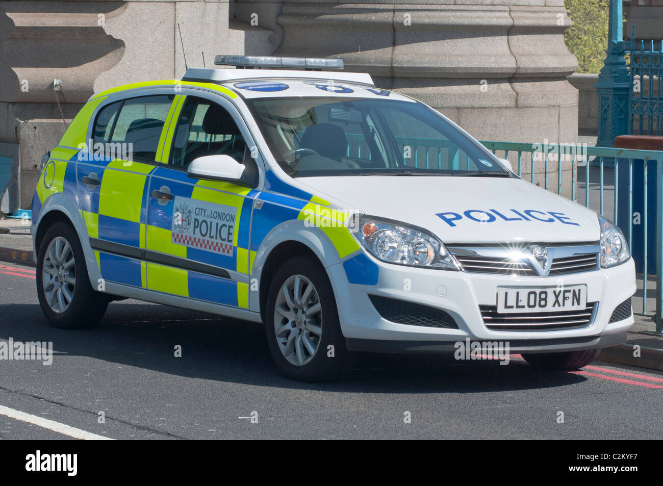 A police car seen stopped on Tower Bridge in London. UK - Stock Image