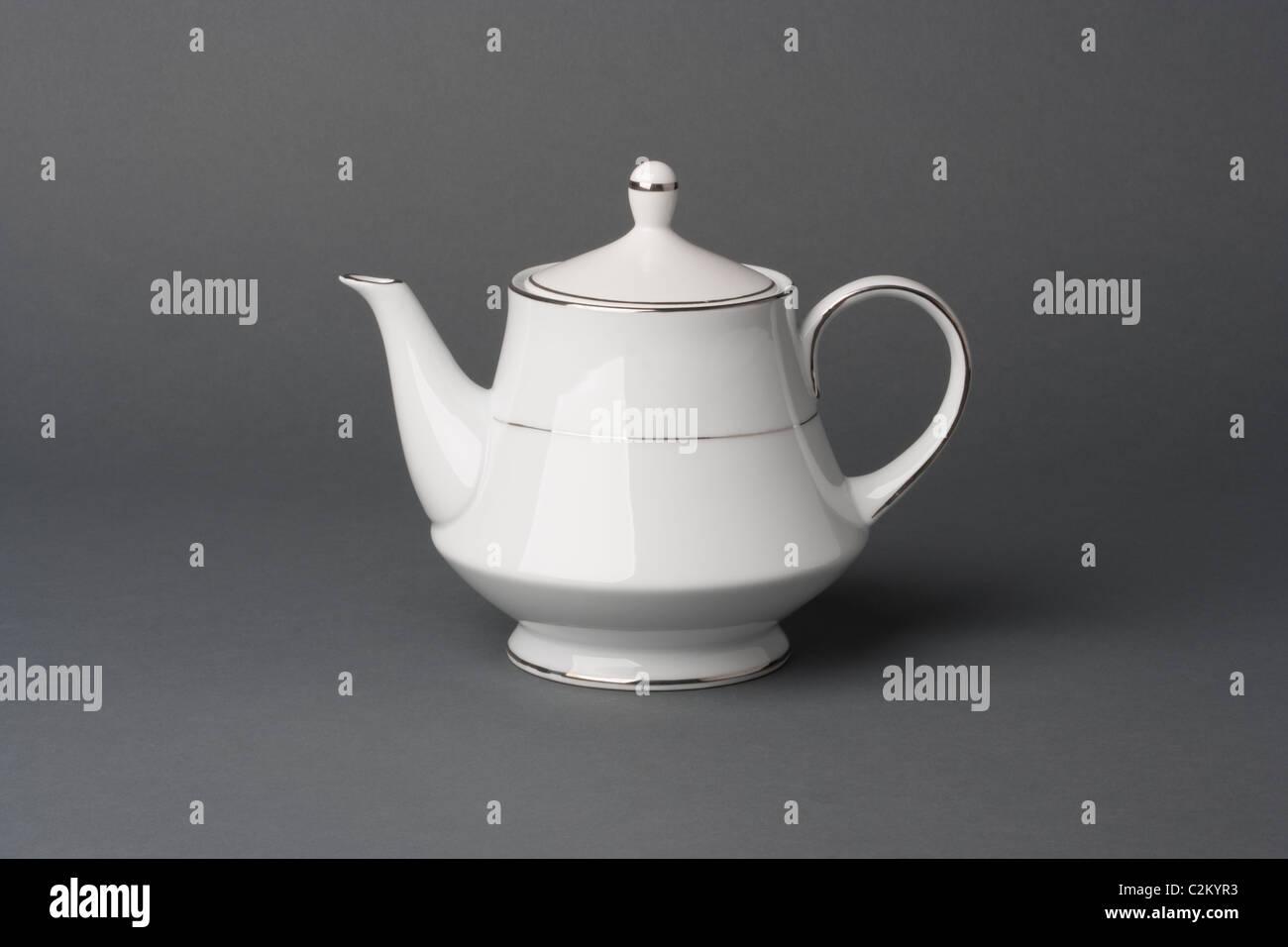 White china tea pot - Stock Image