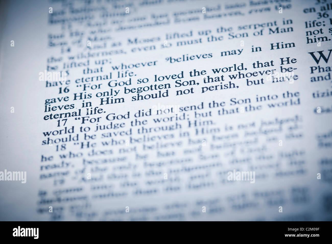 The New American Standard Bible Open To John 3:16 Stock Photo ...