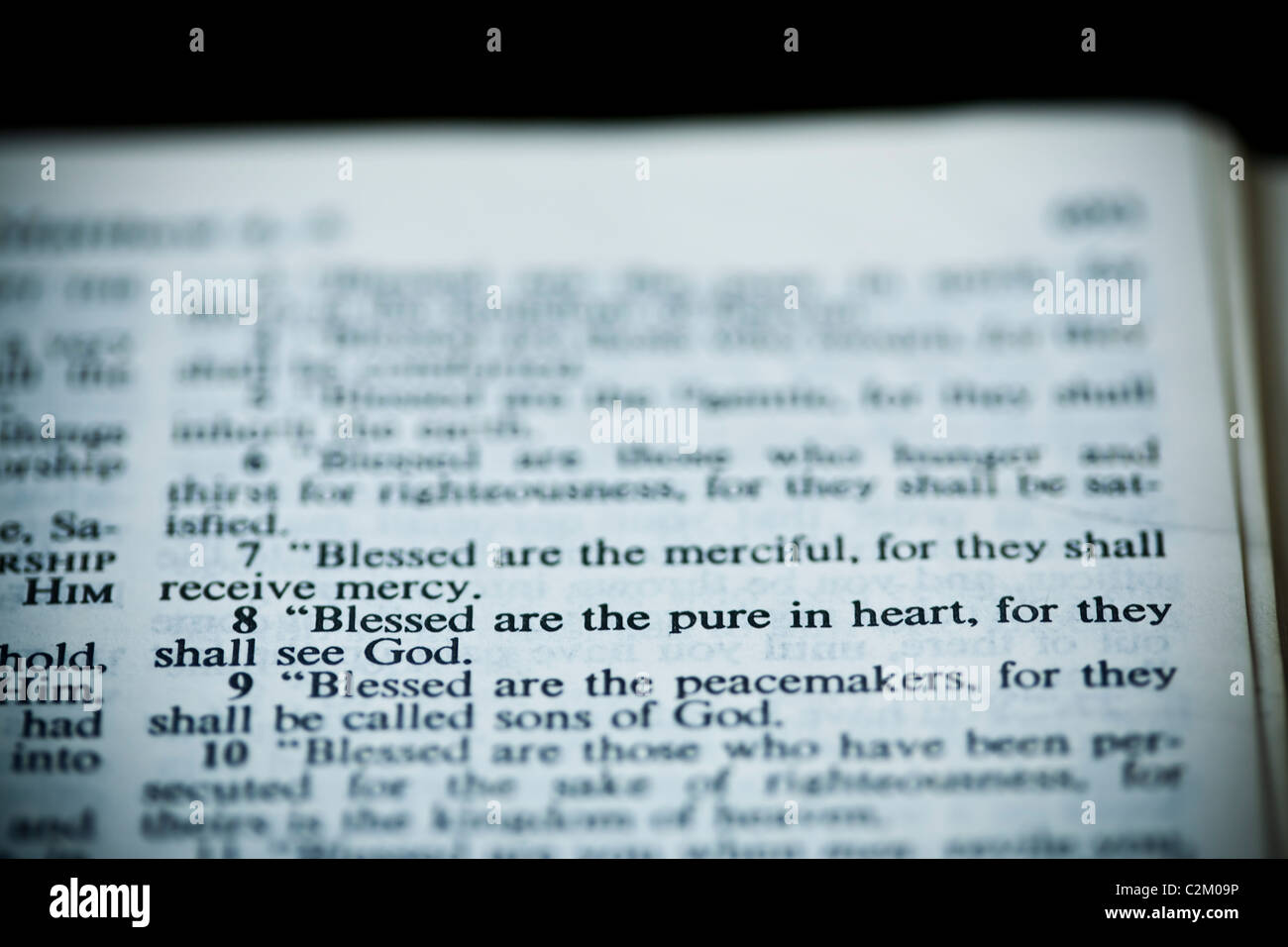 The New American Standard Bible Open To Matthew 5:8, The
