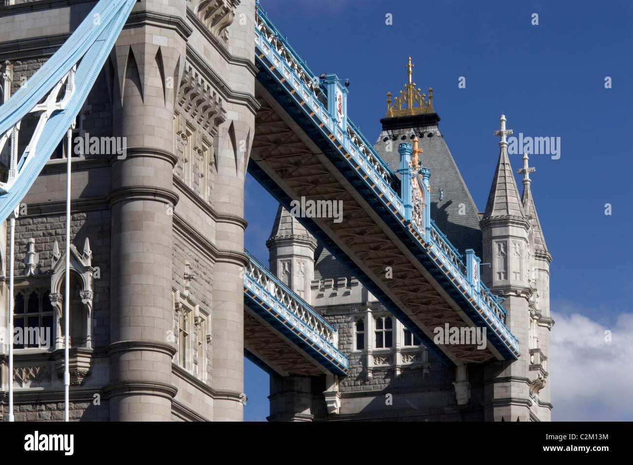 Tower Bridge, London, 1886 - 1894. Detail of high-level walkways. - Stock Image