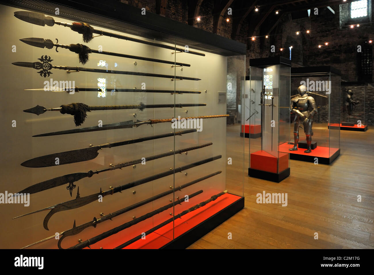 Mediaeval armoury at the Gravensteen / Castle of the Counts in Ghent, Belgium - Stock Image