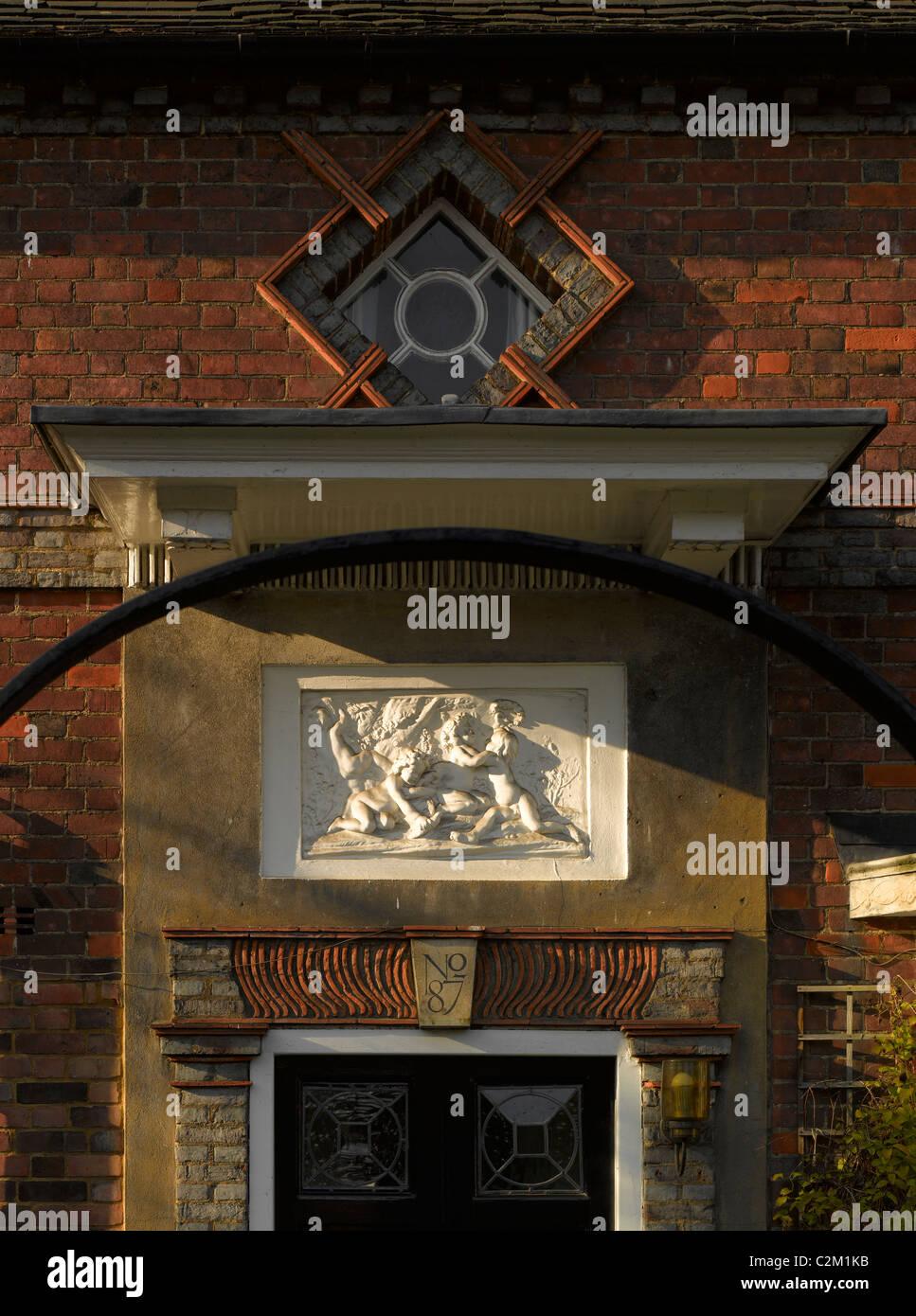 Porch Detail, Hampstead Garden Suburb, London. - Stock Image