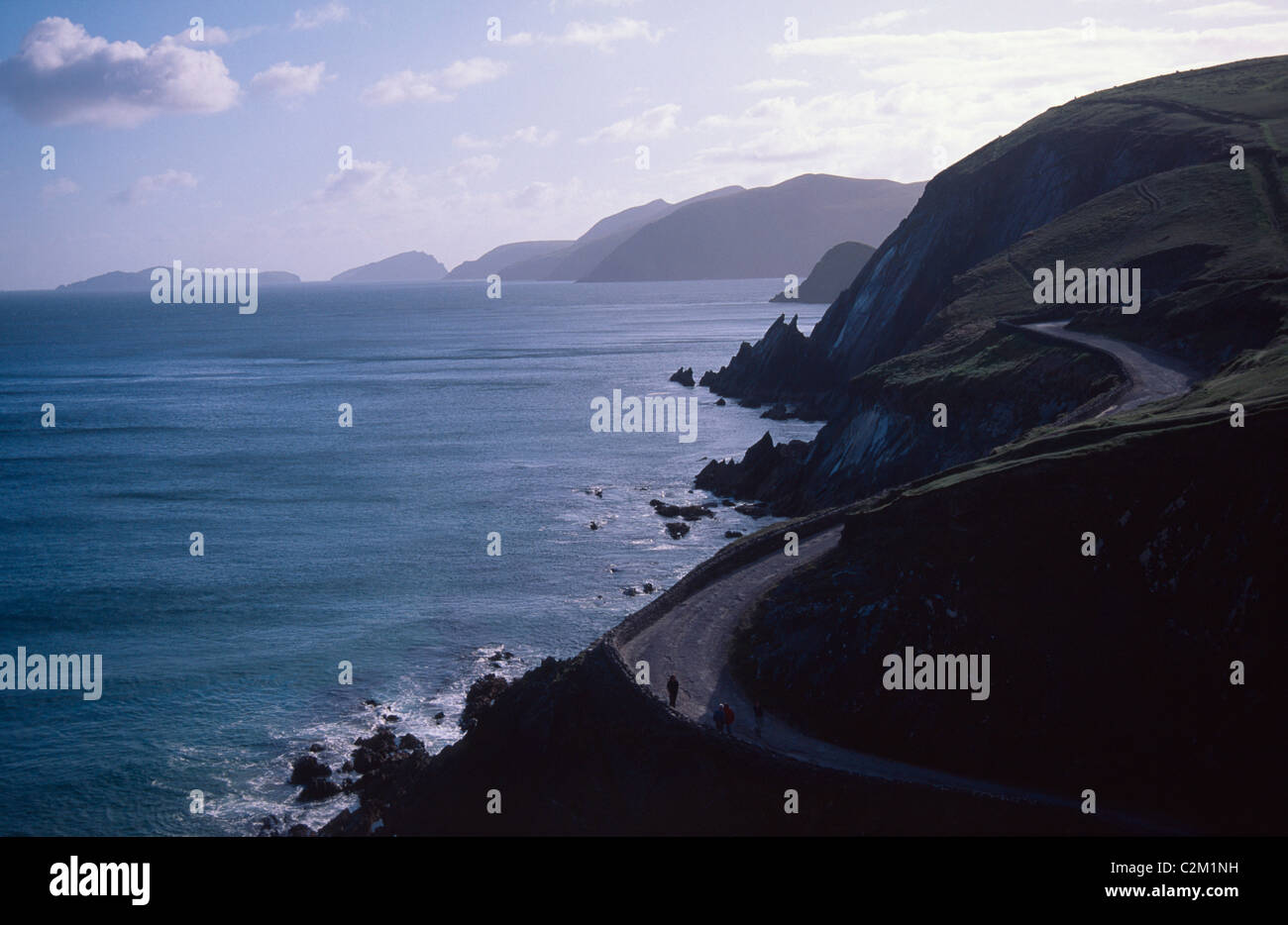 Rugged coastline and coast road around Slea Head, Dingle Peninsula, County Kerry, Ireland. Stock Photo