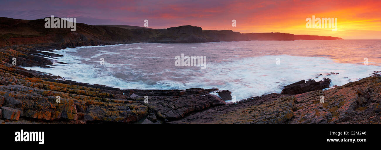 View from Tears Point at sun rise, Gower, Wales - Stock Image