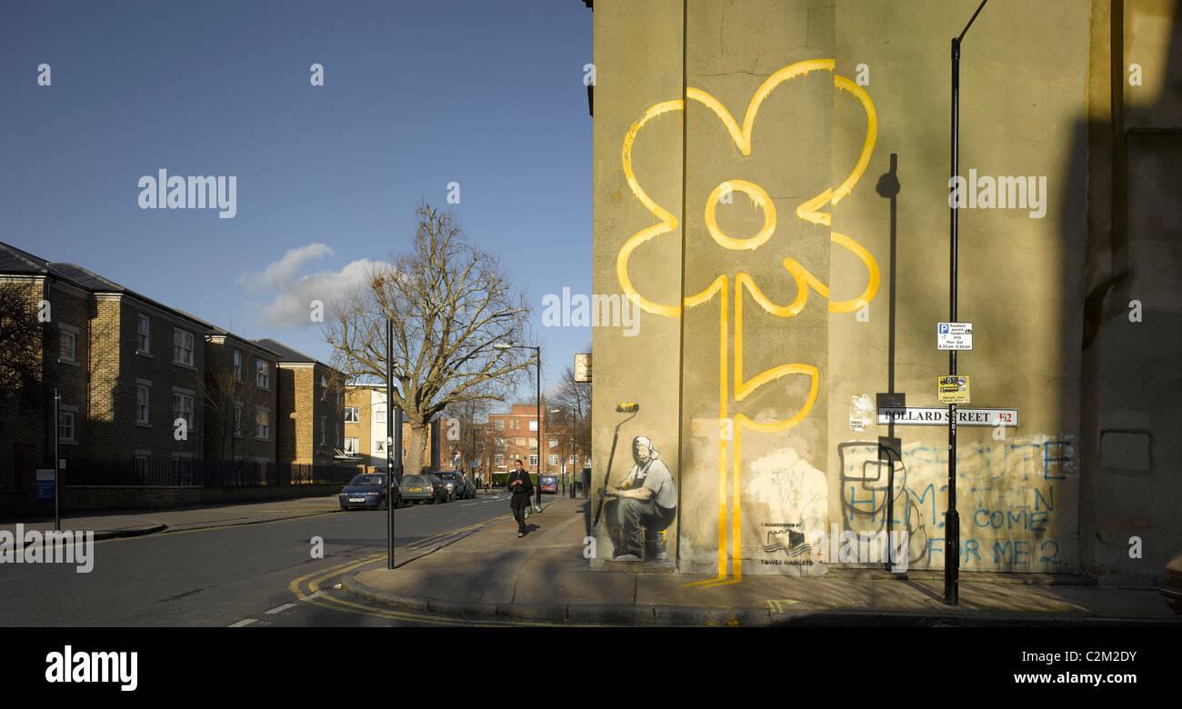 Banksy Mural, Pollard Street, Bethnal Green, London. - Stock Image