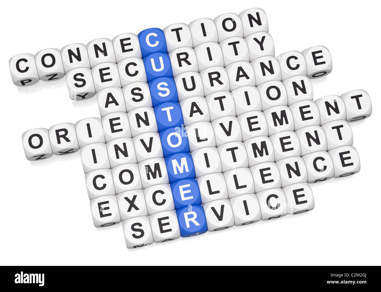 Customer relations crossword on white background - Stock Image