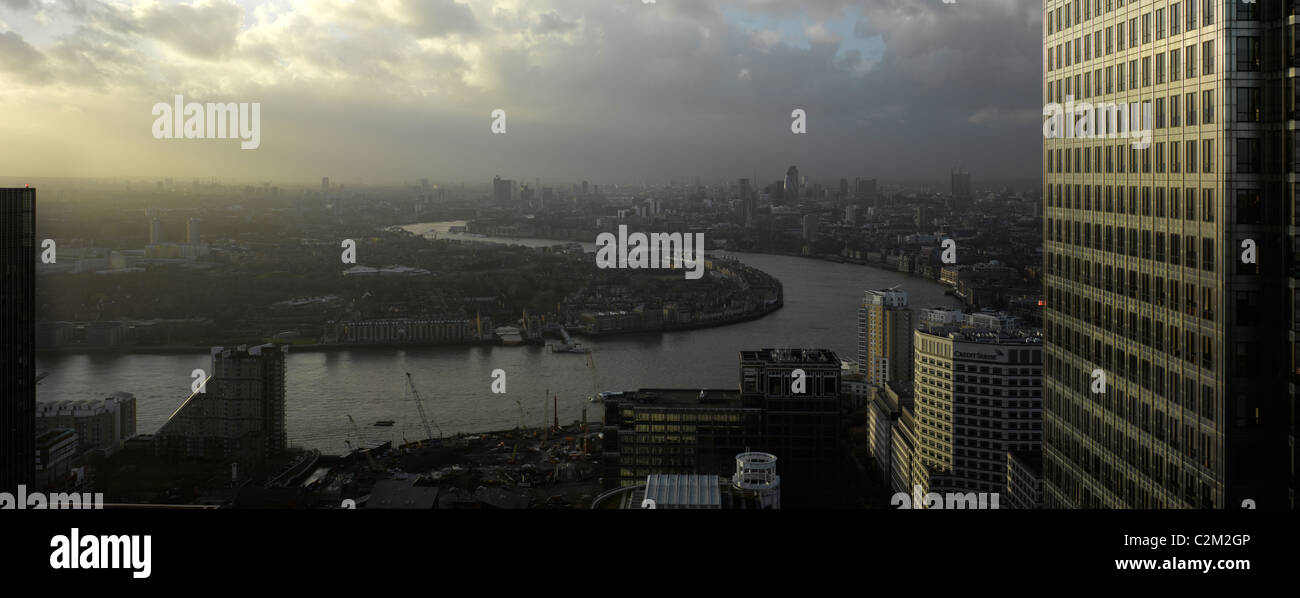 London Panorama from Citigroup Tower looking west, London. - Stock Image