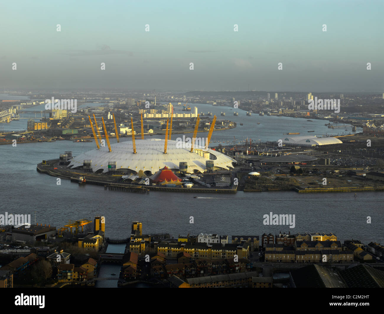 London Panorama with the O2 dome and bends in the River Thames - Stock Image