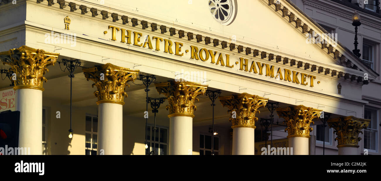 Theatre Royal portico detail, Haymarket, Piccadilly, London. - Stock Image