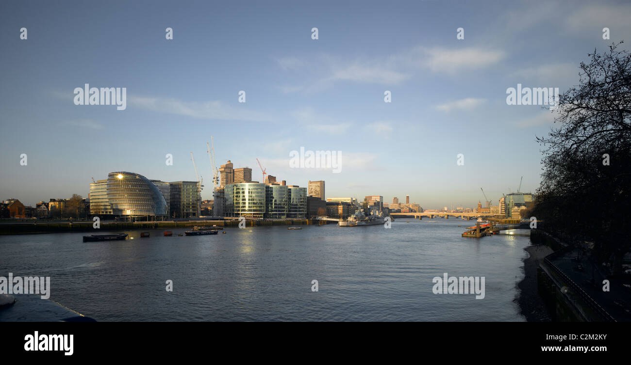 More London and County Hall panorama, London. - Stock Image