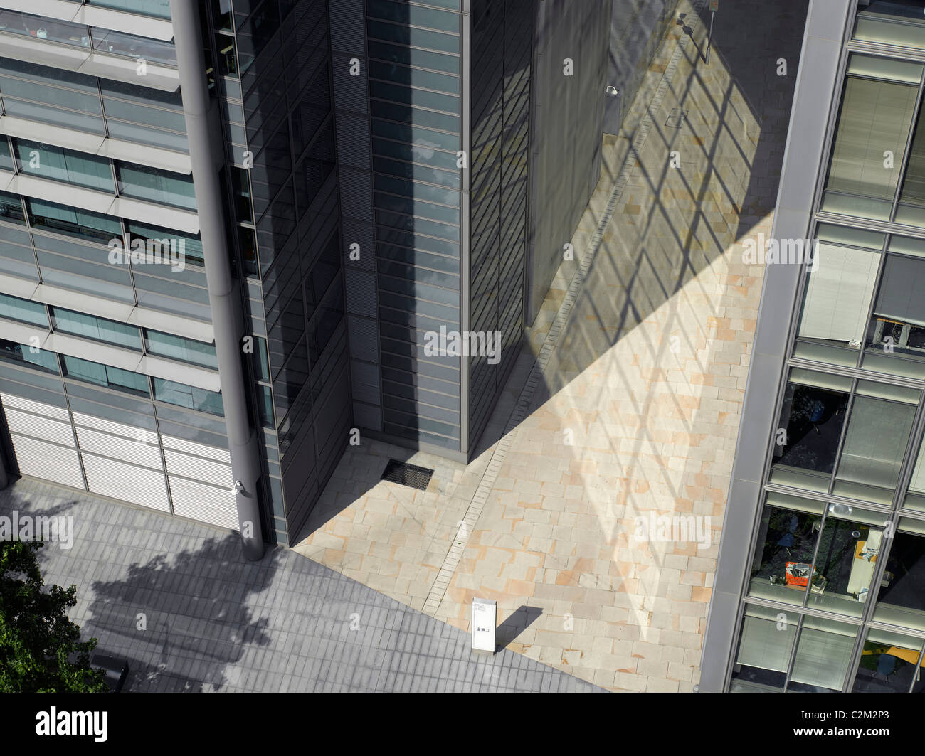 Modern townscape and reflections, City of London, Birdseye view - Stock Image