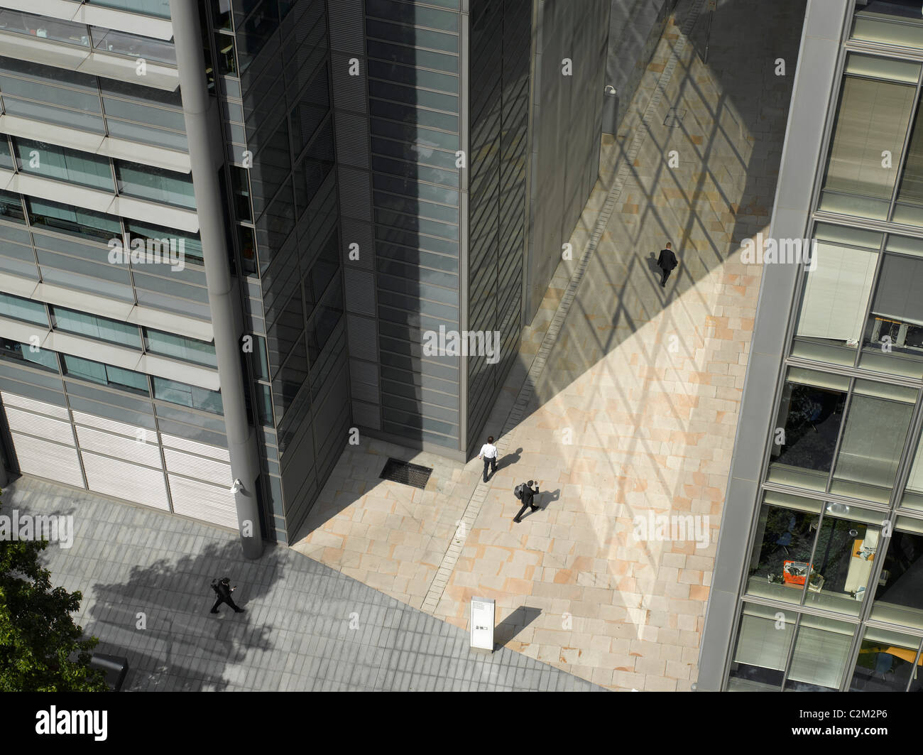 Modern townscape and reflections, City of London Birdseye view. - Stock Image