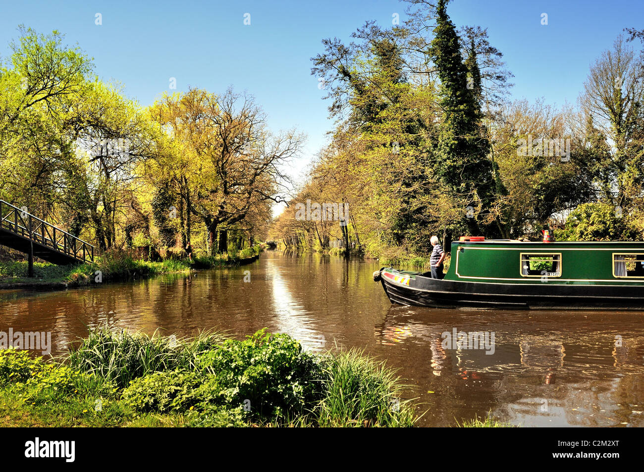 River Wey navigation and Basingstoke Canal at New Haw ,Surrey UK - Stock Image
