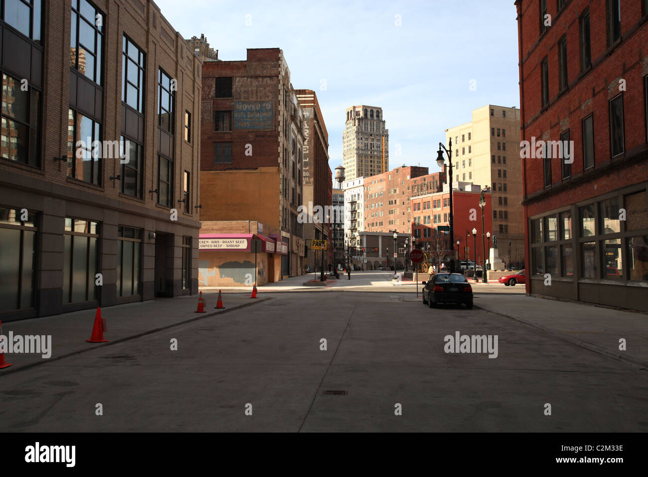 Empty streets and rundown highrise buildings in downtown Detroit Michigan 2011 - Stock Image
