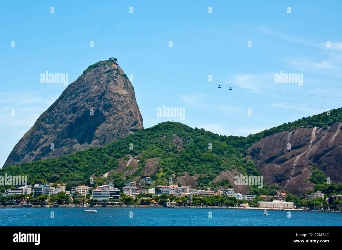 Tourist ride cablecars to the top of Sugarloaf Mountain, Rio de Janeiro,Brazil Stock Photo