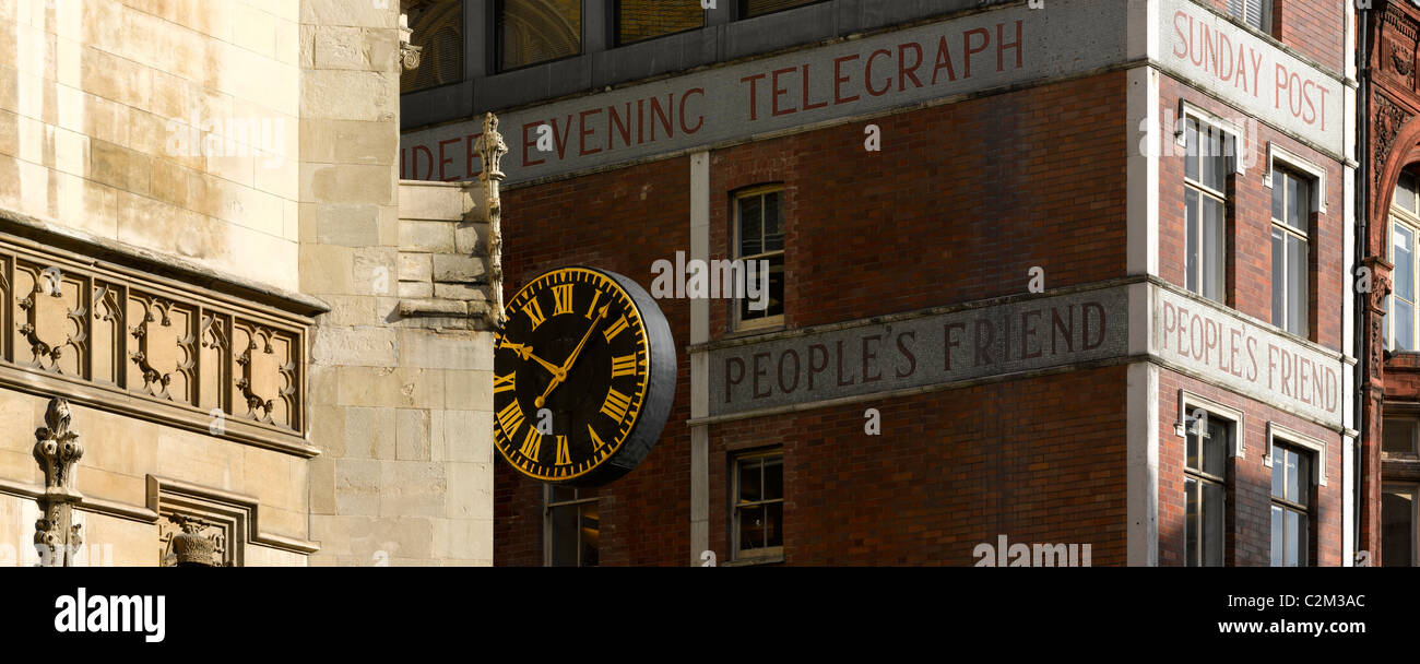 Church and printing house, Fleet Street, London. - Stock Image