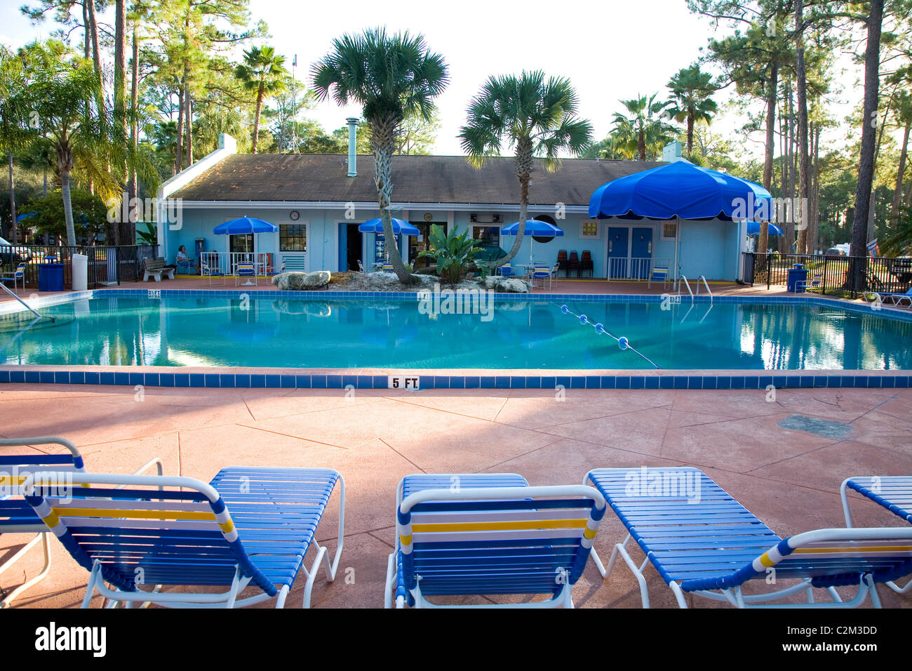 Pool area at Encore's Sunshine Holiday Daytona RV Resort, Ormond Beach, FL - Stock Image