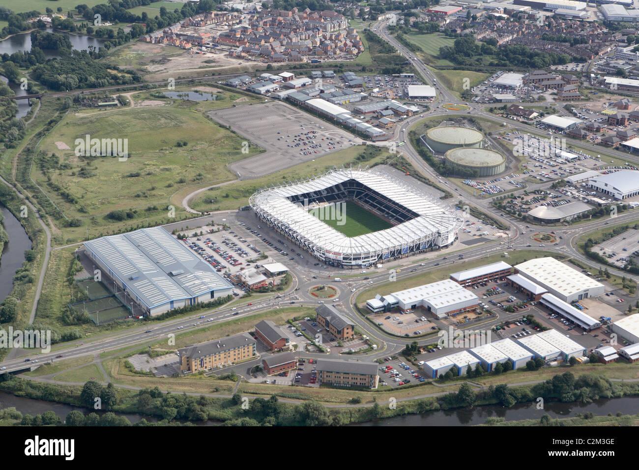 Pride park football ground aerial view Stock Photo - Alamy