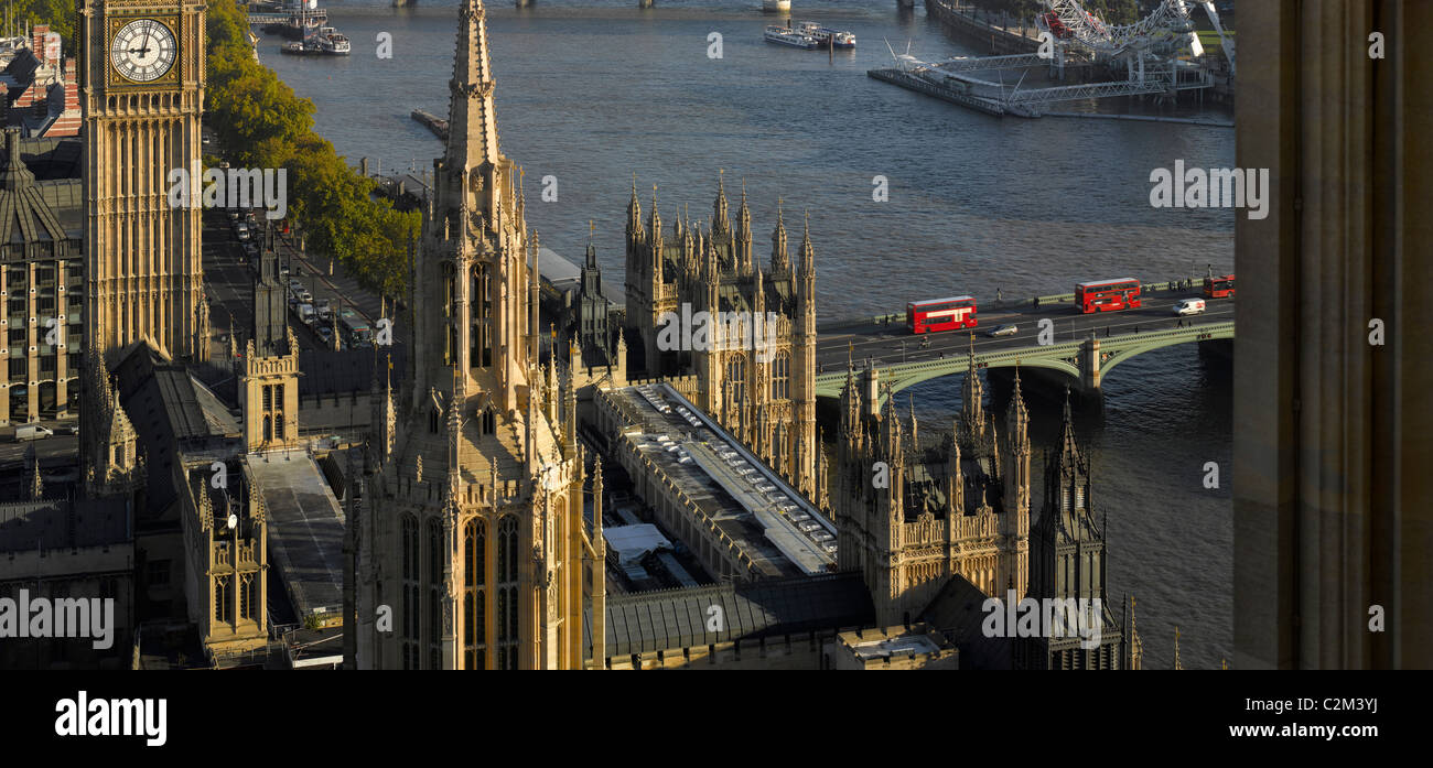 Westminster bridge and Palace of Westminster aerial shot, London. - Stock Image