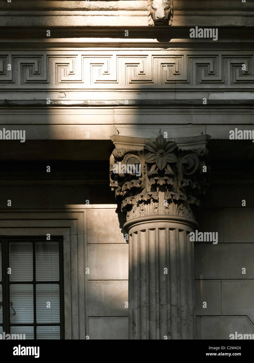 Doric column, Bank of England, Threadneedle Street, City of London. - Stock Image