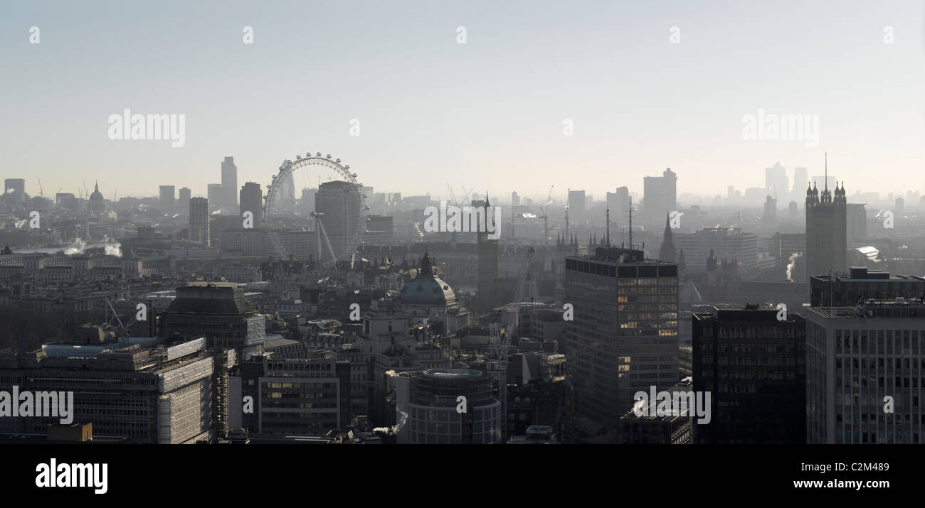 Panorama looking towards the East, London. - Stock Image