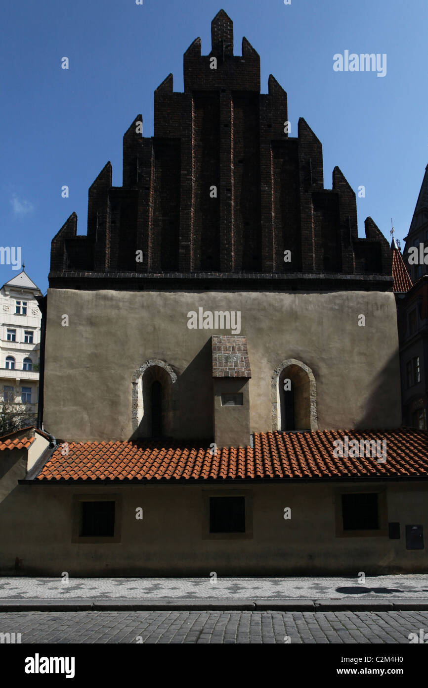 The stepped brick gable of the Old New Synagogue or Staronova Synagoga also Altneuschul completed in 1270 in gothic Stock Photo
