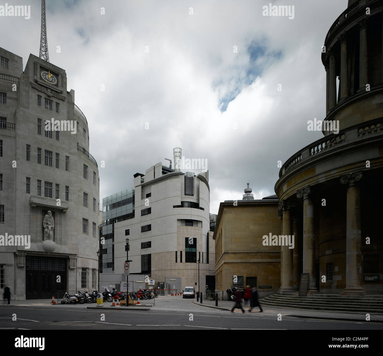 BBC Broadcasting House and Portland Place, London. Stock Photo