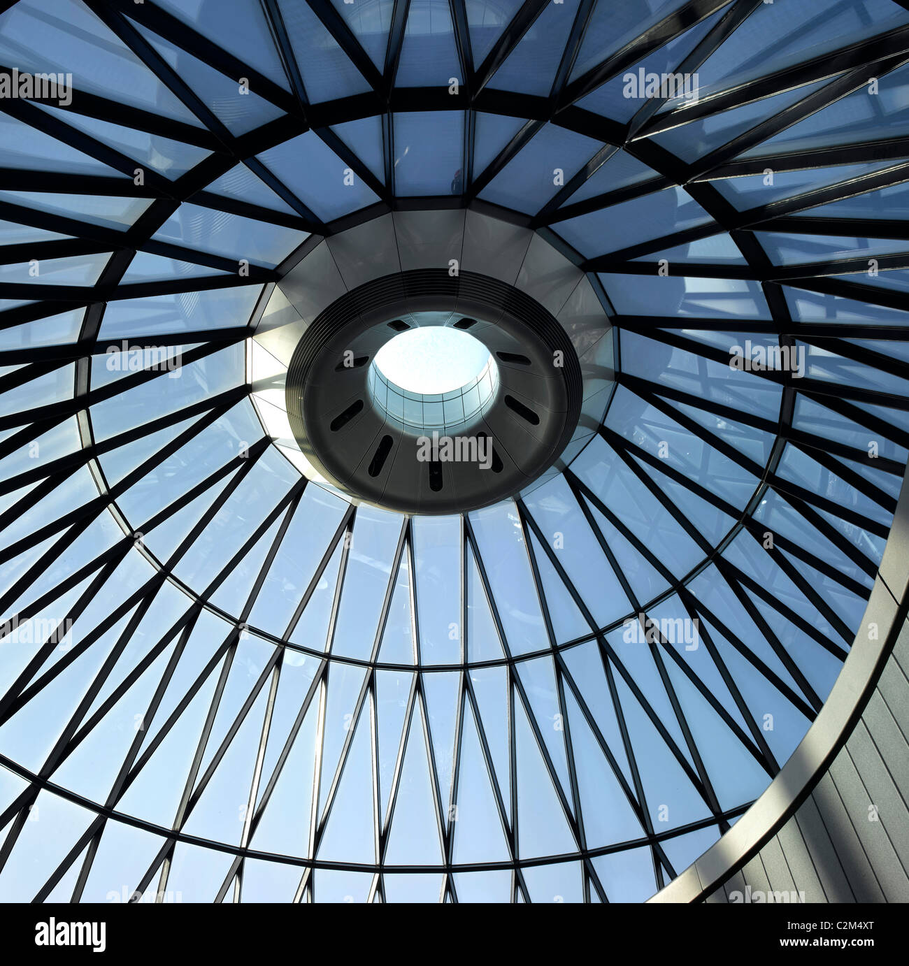 St Mary Axe, City of London, London. 'The Gherkin.' Top floor dome. Building commissioned by Swiss Re - Stock Image