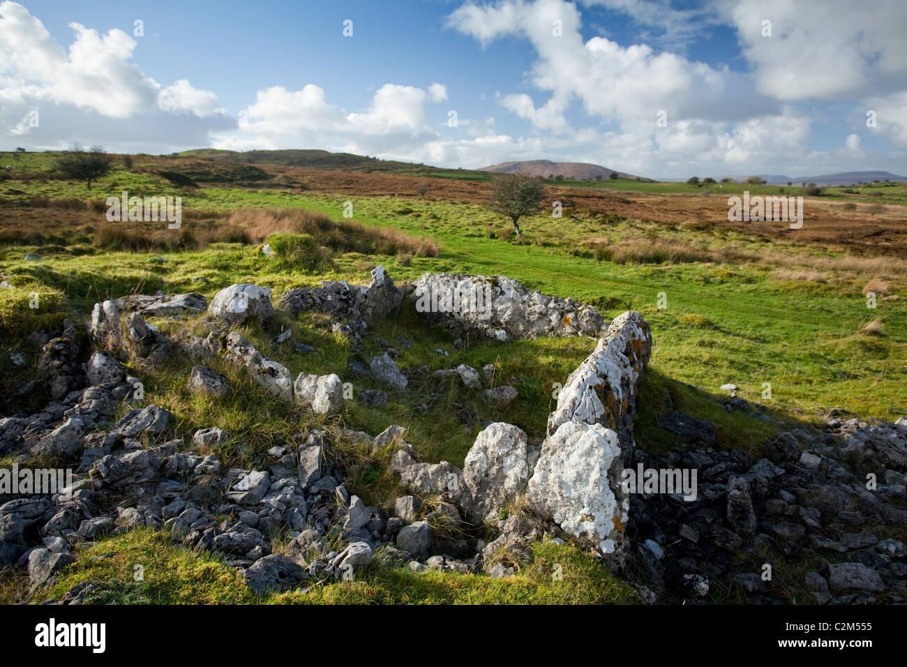 Megalithic tomb on the Tullyskeherny Loop walk, County Leitrim, Ireland. - Stock Image