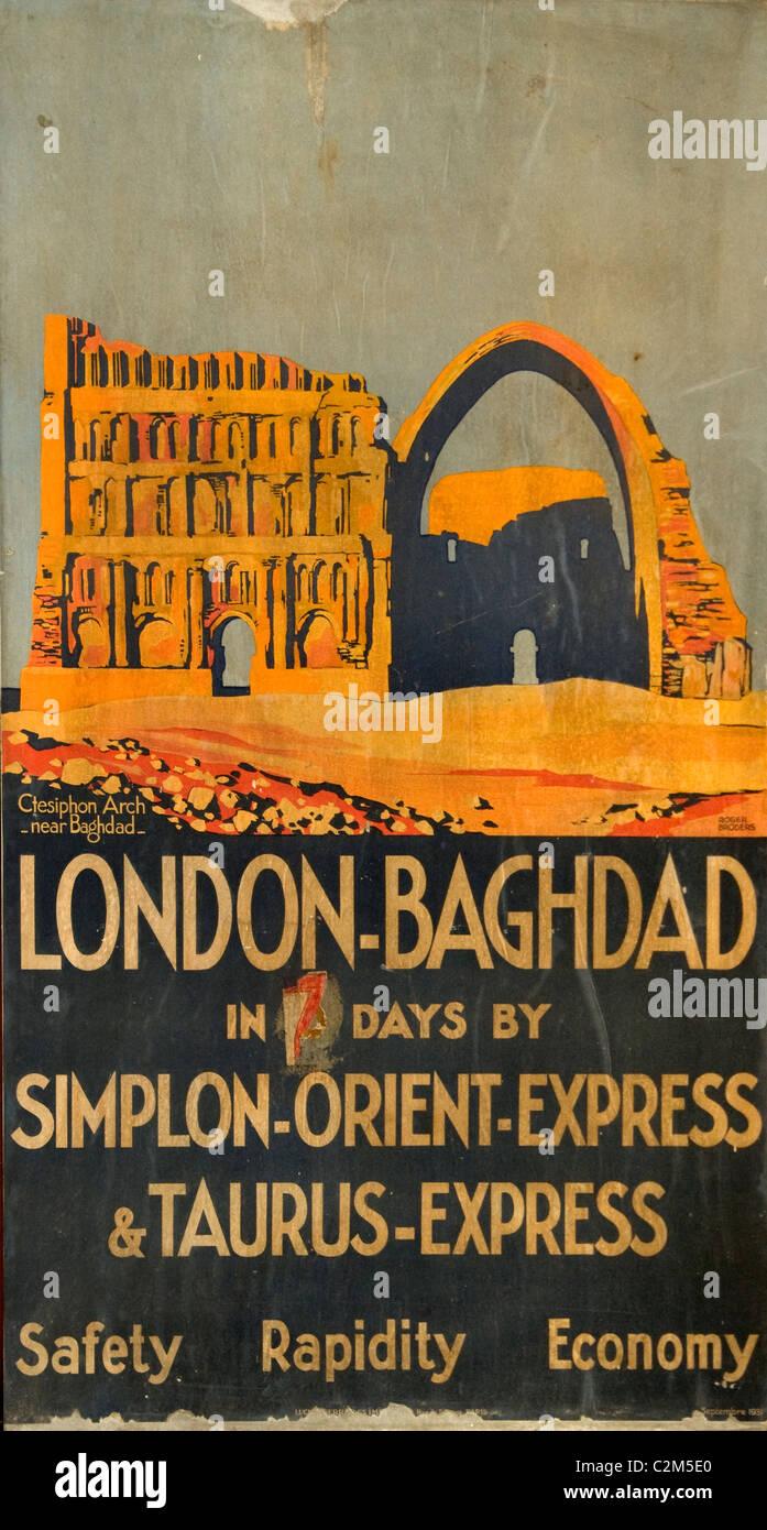 London Bagdad Simplon Orient Express Taurus train old poster - Stock Image