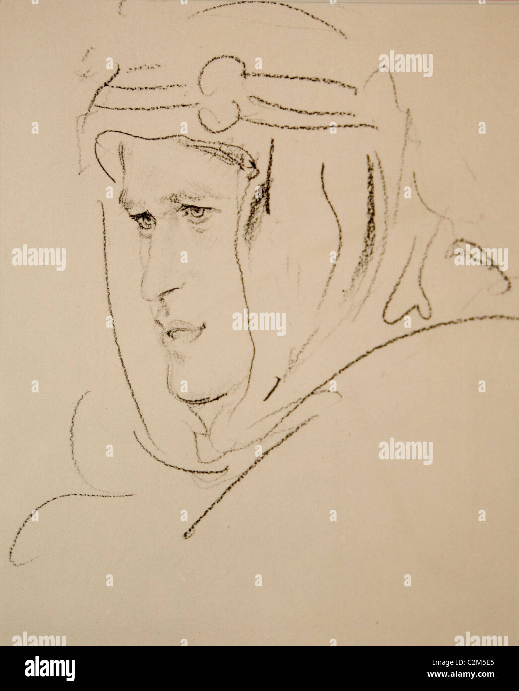 Lawrence of Arabia Lieutenant Colonel Thomas Edward Lawrence  T. E. Lawrence British Army officer painting drawing - Stock Image