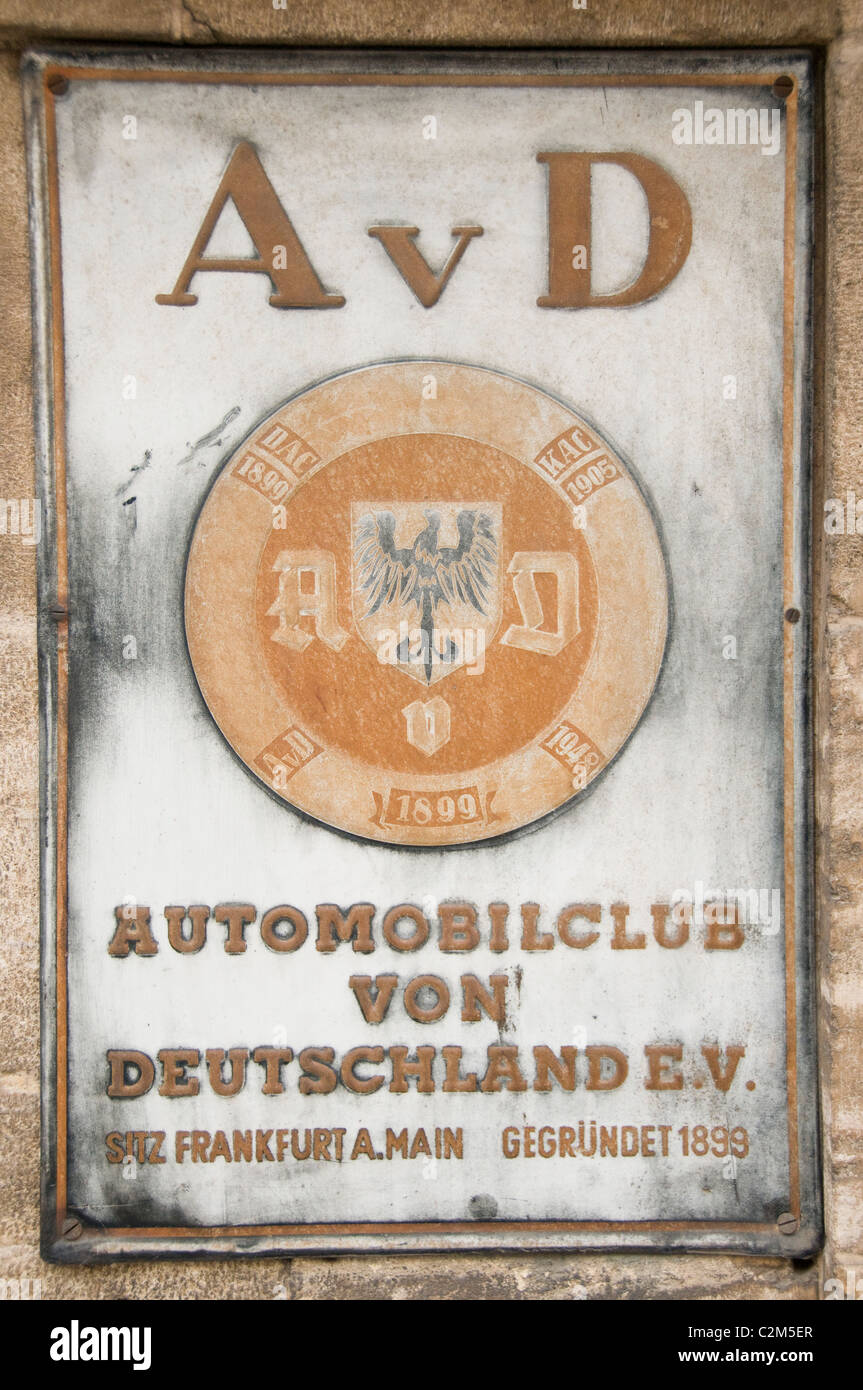 Automobilclub von Deutschland old billboard sign Automobile Club of Germany sign old billboard - Stock Image