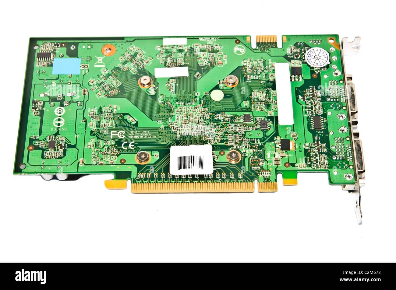 Graphics card circuit board on white background. - Stock Image