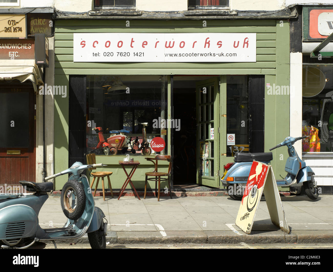scooterworks lambeth london scooter repair shop and cafe stock rh alamy com scooter repair shops near me scooter repair shops in ct