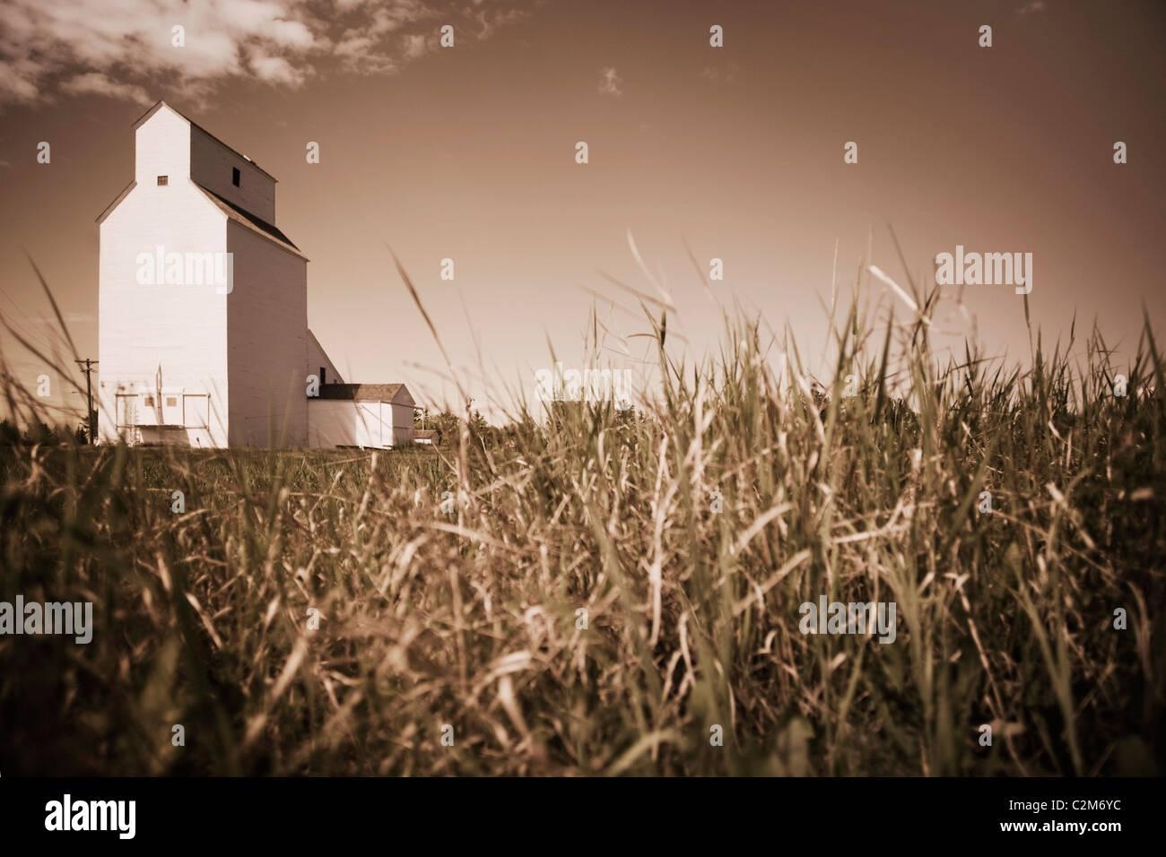 Alberta, Canada; A Grain Elevator - Stock Image