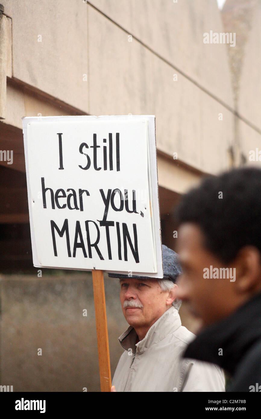 MAN WITH PLACARD MARTIN LUTHER KING JR. DAY ATLANTA USA 17 January 2011 - Stock Image